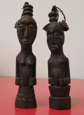 Unusual Pair Small African Tribal Art Carved Wooden Rattling Figures With Seeds!