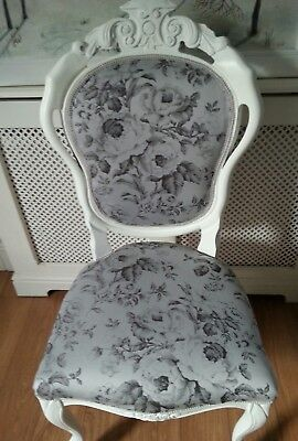 Vintage rose fabric french style louis boudoir chair