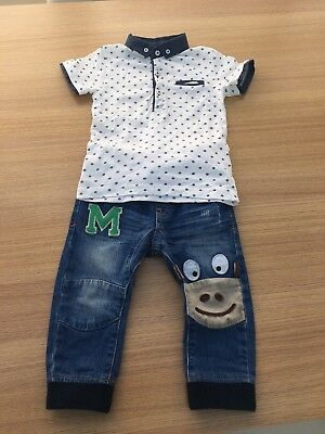 NEXT 12-18mths Boys Set Jeans+New Polo T-shirt