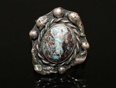 Vintage Large Turquoise Sterling Silver Size 10 Brutalist Organic Abstract Ring
