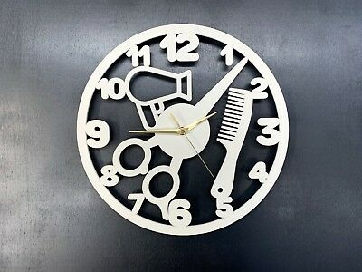 Wall Clock Gift Barber Shop Hair  Silent Non-Ticking Ply Wood White 103