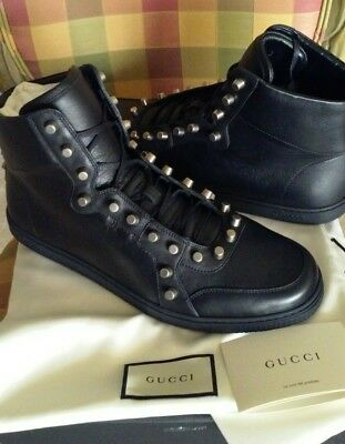 ca4d23306 $950 New Gucci Men's Black Leather Studded Sneakers Shoes High Top 10.5 Us  11.5