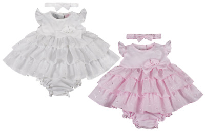 Baby DRESS frilly broderie anglaise knickers headband Spanish style