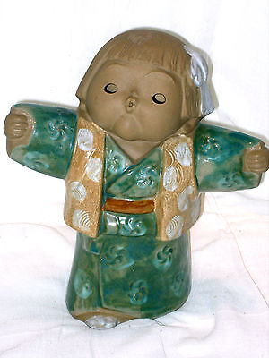 """Large Oriental (Japanese?) Hand Made Signed Pottery Figurine 10 1/2""""tall Perfect"""