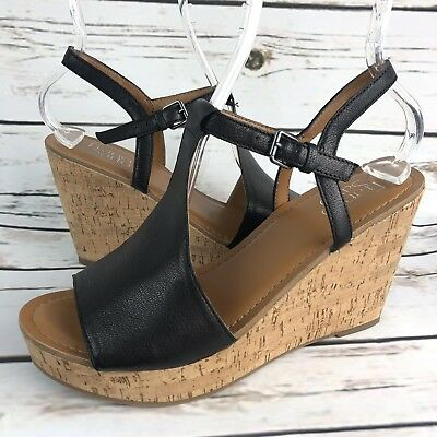 e5c936f86abe Franco Sarto Clinton Wedge Sandals Womens Size 9.5 M Black Leather Ankle  Strap