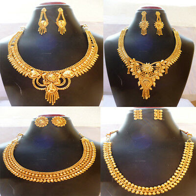 Indian 22K Gold Plated Wedding Bollywood 8'' Long Fashion Necklace Earrings Set