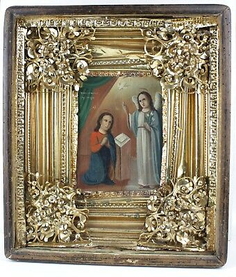 Antique Icon BlessingMother of God Russian Empire Wood Oil 350x310 mm