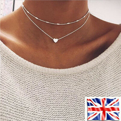 Women Necklace Double Layer Heart Chain Hot Multilayer Choker Pendant Silver UK