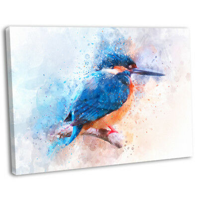 Kingfisher Abstract Watercolour Canvas Print Framed British Bird Art Picture