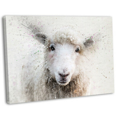 Sheep Abstract Watercolour Canvas Print Framed Wall Art Picture