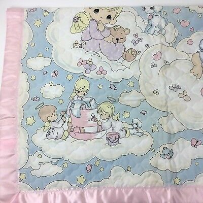 Vintage Precious Moments Baby Blanket Quilt Pink Satin Trim