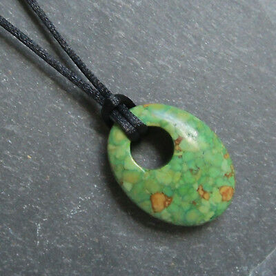Medium Size Oval GREEN HOWLITE Donut Type Pendant & Cord Necklace