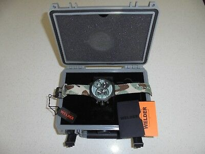 Mens Welder By U-Boat Triple Time Zone Camo Band Chronograph Watch - Nwt
