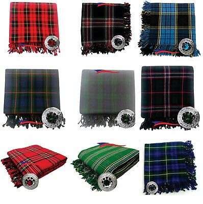 Scottish Piper Kilt Fly Plaid 106''X 53'' with Stone Brooches in Various Tartans