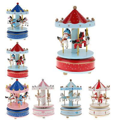 Carousel Music Box Rotating 4-Horse Carouse Music Box with Beautiful Melody