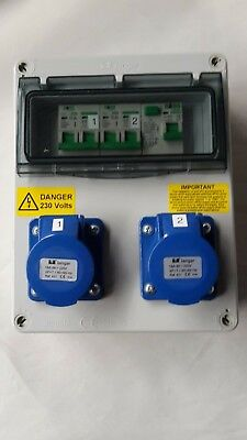 Caravan, Camping, Marine Hook Up, RCD, double pole MCB's 240V distribution board