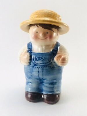 Vintage American Bisque Small Candy Jar Boy Farmer Straw Hat Overalls Blue 6.25""