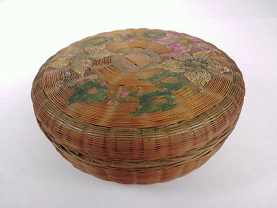 RARE LARGE ANTIQUE PAINTED Chinese Sewing Basket Betty-Lou Collection 138