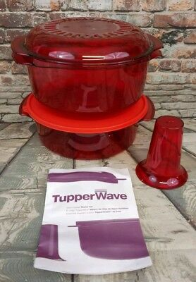 Tupperware Tupperwave Stack Cooker Starter Set - Persimmon color 5 pc Microwave