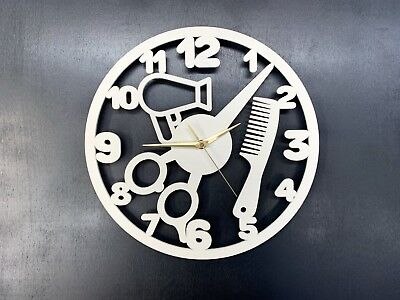 Wall Clock Gift Barber Shop Hair stylist Silent Non-Ticking Ply Wood 103