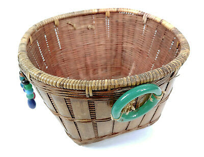 ANTIQUE BEADS BANGLES Chinese Sewing Basket Betty-Lou Collection 146