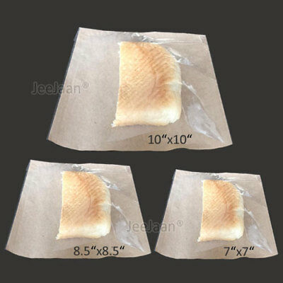 100 MIXED SIZES Film Front White Paper Bags Sandwich Food Cake Clear Cellophane