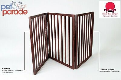 Pets Pet Gate Folding 3 Part Wooden Pet Dog Puppies Cats Kitten Gate Safety