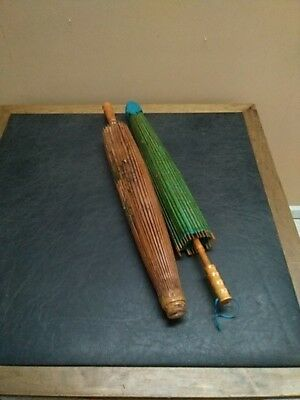 Pair of VTG Umbrella Chinese Oriental Wooden Old Bamboo Parasol Handmade Paper