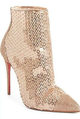 477c564c5077 Christian Louboutin Gipsy Sequin Bootie Shimmering Pointy Toe Size 38.5