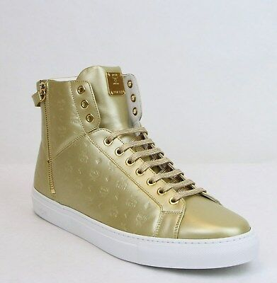 25c3b531970  795 VERSACE COLLECTION Metallic Leather High Top Sneakers Gold 45 ...