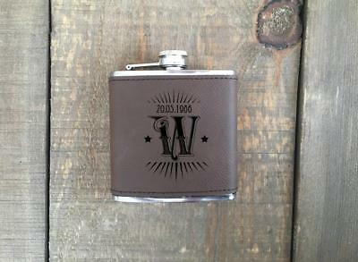 Initial Engraved Leather Flask Gift Set
