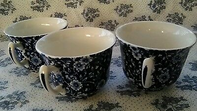 3 Vintage Blue & White Chintz China Teacups/England