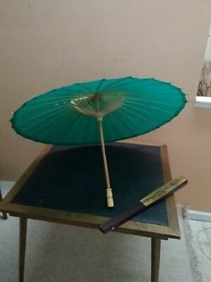 VTG Umbrella Chinese Oriental Wooden Old Bamboo Parasol Handmade Paper and fan