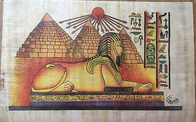 Egyptian Painting Papyrus Paper Authentic Sphinx and Pyramids Giza art/history