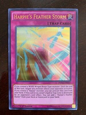 Super Rare Card 1st Edition Yu-Gi-Oh TCG: Harpie's Feather Storm LED4-EN000