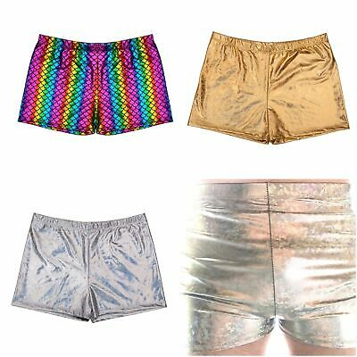 Mens Metallic Shorts Hot Pants Shiny PVC Look Fancy Dress Stag Nights Holiday