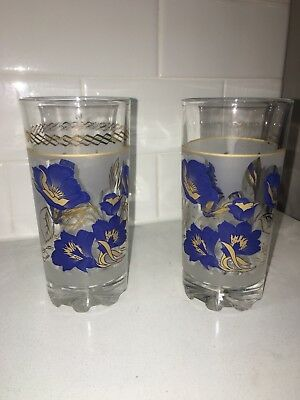 0798b8b0dba Set of 2 Cerve Vintage Made Italy Glasses Tumblers Frosted Blue Gold Flowers