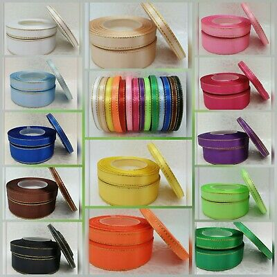 3 metres # Satin Ribbon with Gold Lurex Edge # 6mm, 12mm, 25mm # Free Delivery