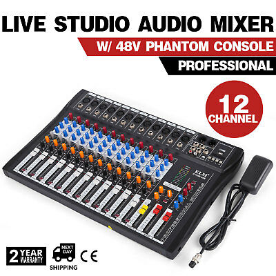12 Channels Mic/Line Audio Mixer Mixing Console Ultra compact  LED display Gain