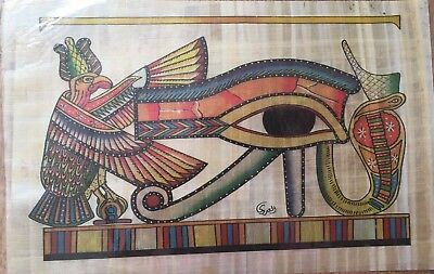 Egyptian Painting Papyrus Paper Authentic Eye Of Horus