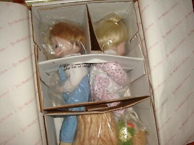 Hamilton Collection Precious Moments Love One Another Doll Set Mint In Box Cute