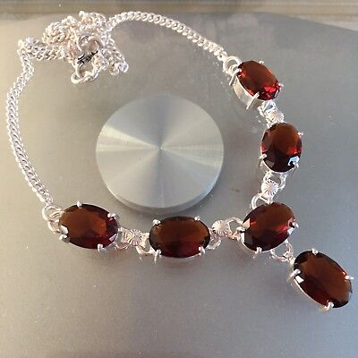 "Natural Faceted Oval Brown Smoky Quartz 925 Sterling Silver Necklace 18"" Handmad"