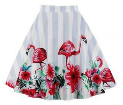 Flamingo Print Striped  Skirt ALINE ROCKABILLY VINTAGE PINUP STYLE