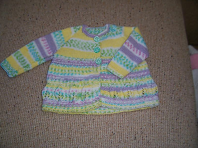 New Hand Knitted   Baby Jacket Yellow, Green & Mauve.  0 -3 Mths Approx