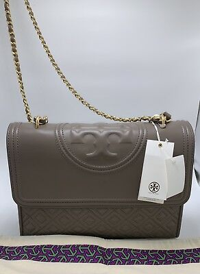3b29c5e6745 Tory Burch Fleming Convertible Shoulder Bag Silver Maple- NEW 100% Authentic