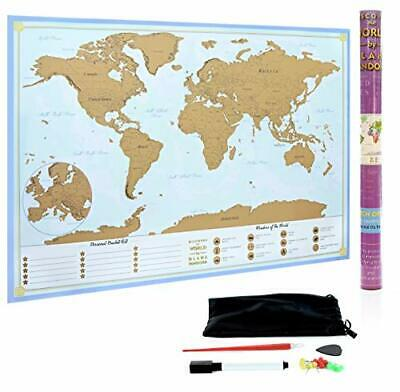 XL Scratch Off Map of The World – Bucket List Features Wonders of The WORLD