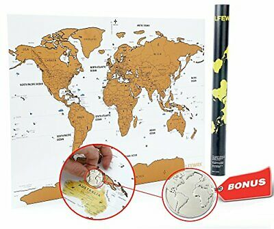 "scratch Off World Map Poster, w/Coin to scratch with, Deluxe Paper, 32"" x 22.54"
