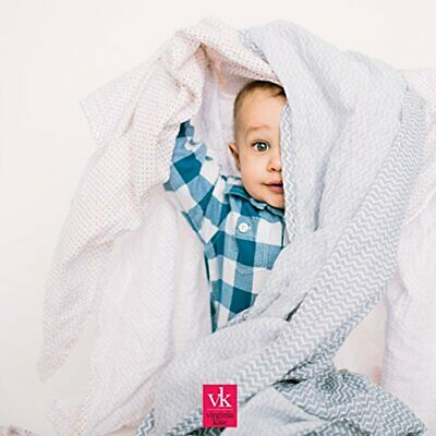Virginia Kate Organic Muslin Swaddle Blankets Large Cotton Unisex Baby Swaddles