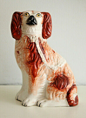 A Charming Antique c19th Staffordshire Spaniel Russet and White