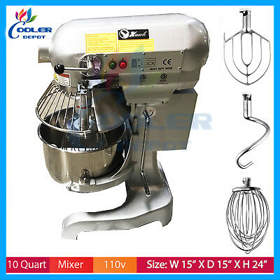 10 QT PLANETARY Mixer Dough, Beater Whip Attachments home or commercial  ETL/NSF